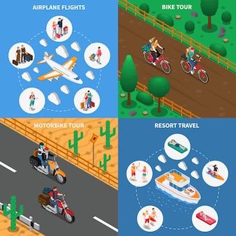 Concepto isométrico de personas que viajan