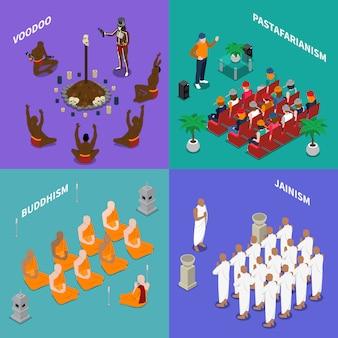Concepto isométrico de personas de religiones