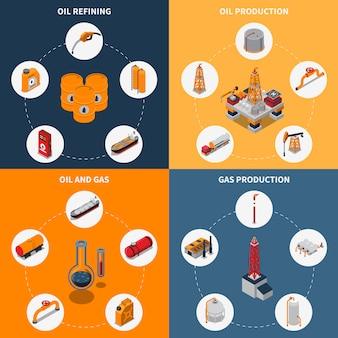 Concepto isométrico de petróleo y gas