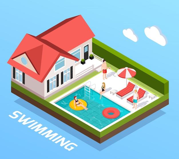Concepto isométrico de piscina con personas descansando junto a la ilustración de vector de piscina