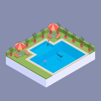 Concepto isométrico de piscina privada
