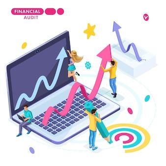 Concepto isométrico de planificación empresarial y desarrollo de estrategias, jóvenes emprendedores.