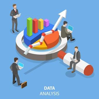 Concepto isométrico plano de análisis de datos.
