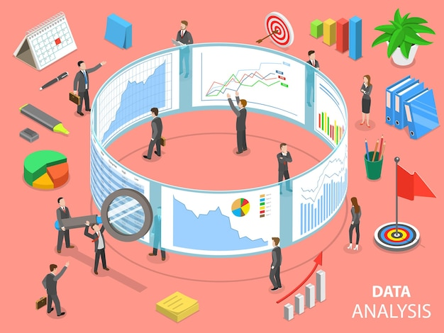 Concepto isométrico plano de análisis de datos