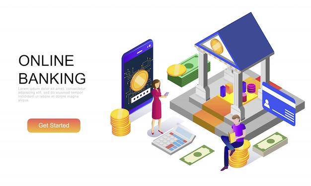 Concepto isométrico plano de banca en línea