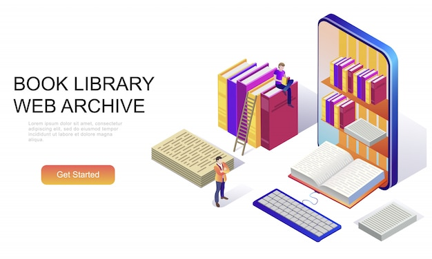 Concepto isométrico plano de la biblioteca de libros