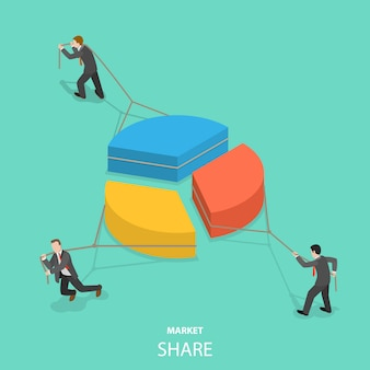 Concepto isométrico plano de cuota de mercado