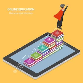 Concepto isométrico plano de la educación en línea