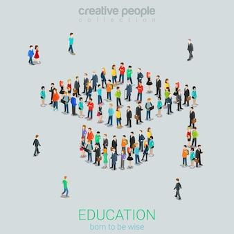 Concepto isométrico plano de educación masiva