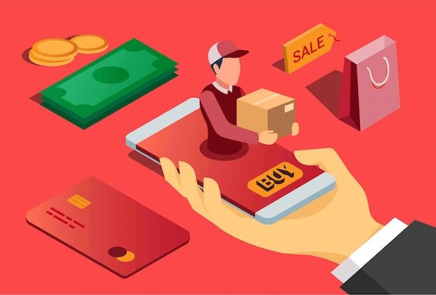 Concepto isométrico plano de entrega rápida de comercio electrónico. aplicación de compras en línea con pago.