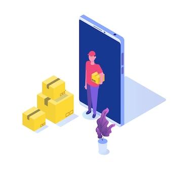 Concepto isométrico plano de entrega rápida. el mensajero se queda con el paquete.