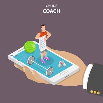 Concepto isométrico plano de entrenador en línea.