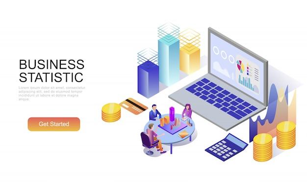 Concepto isométrico plano de estadística empresarial