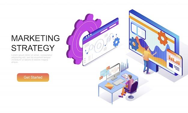 Concepto isométrico plano de estrategia de marketing