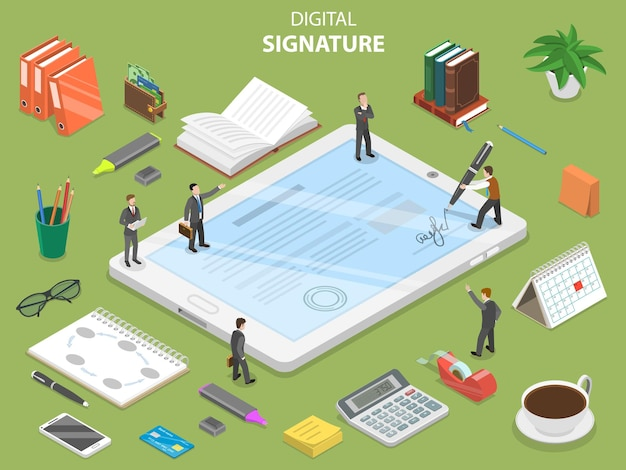 Concepto isométrico plano de firma digital.
