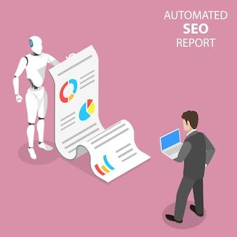 Concepto isométrico plano de informe seo automatizado, rendimiento del sitio web, análisis de datos, análisis web, estrategia de marketing digital.