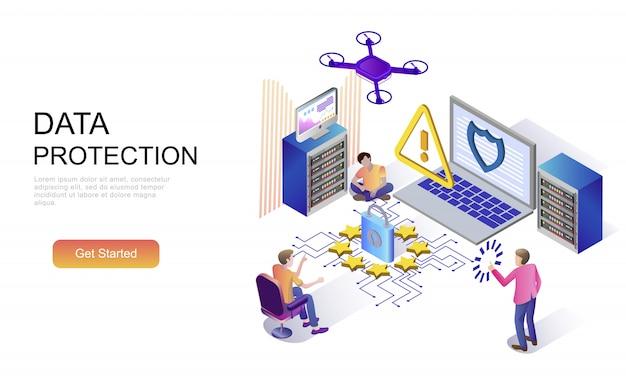 Concepto isométrico plano de protección de datos