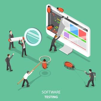 Concepto isométrico plano de prueba de software