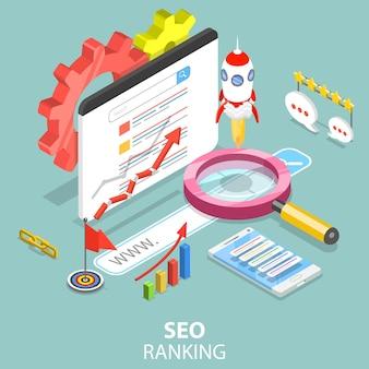Concepto isométrico plano del ranking de motores de búsqueda.
