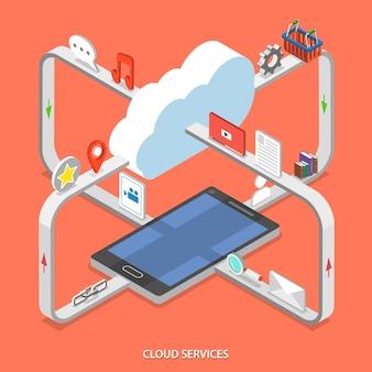 Concepto isométrico plano de servicios en la nube.