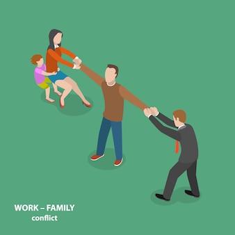 Concepto isométrico plano vector de conflicto trabajo-familia.