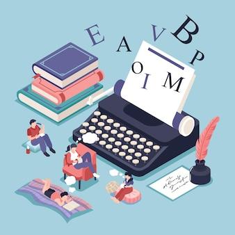 Concepto isométrico de poesía con libros, literatura e ilustración de símbolos de lectura