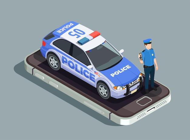 Concepto isométrico de la policía