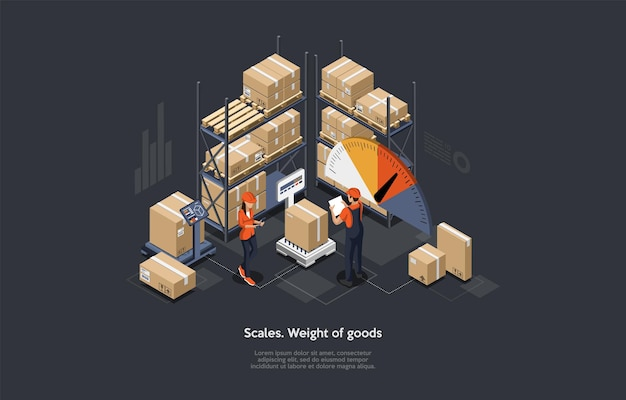 Concepto isométrico de ponderación y clasificación de mercancías del almacén.