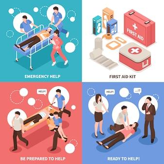 Concepto isométrico de primeros auxilios