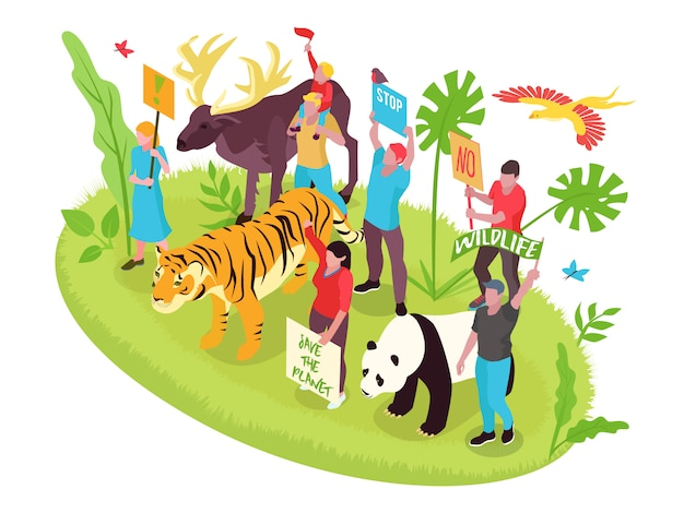 Concepto isométrico de protección de la vida silvestre con personas, naturaleza y animales