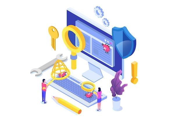 Concepto isométrico de prueba de software o aplicaciones. proceso de desarrollo de depuración.