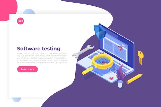 Concepto isométrico de prueba de software o aplicaciones.