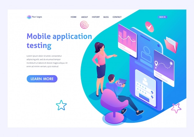 Concepto isométrico que los jóvenes participan en la prueba de la aplicación móvil, el trabajo del programa. página de inicio de plantilla para sitio web