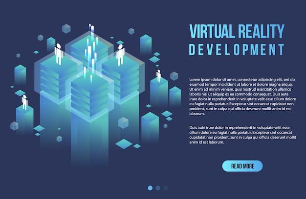 Concepto isométrico de realidad aumentada. plantilla de diseño plano para aplicaciones móviles y sitios web. ilustración isométrica de realidad virtual.