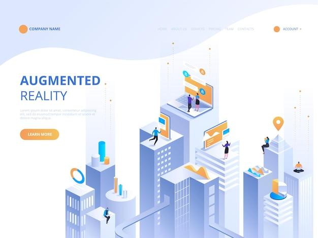 Concepto isométrico de realidad virtual y realidad aumentada desarrollo de ar y vr. tecnología de medios digitales para sitios web y aplicaciones móviles. desarrollo y programación de software. computación de big data center
