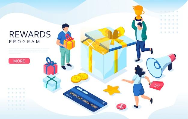 Concepto isométrico de recompensas en línea. clientes minoristas web, cajas de regalo y tarjetas de bonificación. concepto de programa de fidelización, bonificación o recompensa.