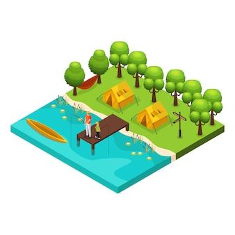 Concepto isométrico de recreación de fin de semana con padre e hijo pescando juntos en el lago aislado