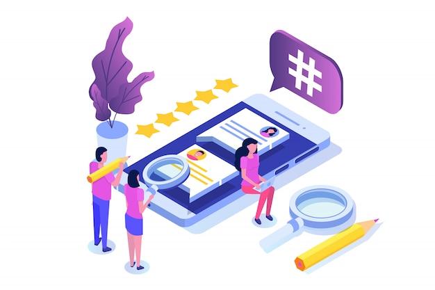 Concepto isométrico de redes sociales con personajes. plantilla de página de destino. ilustración