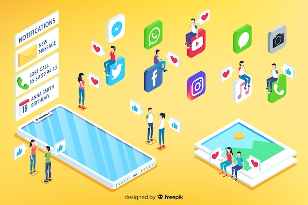 Concepto isométrico de redes sociales