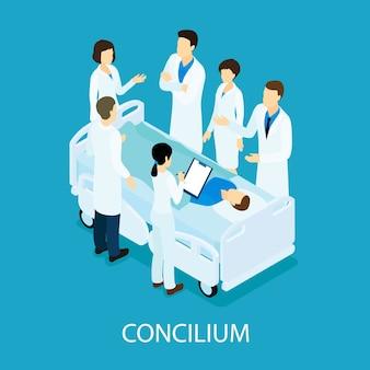 Concepto isométrico de reunión médica