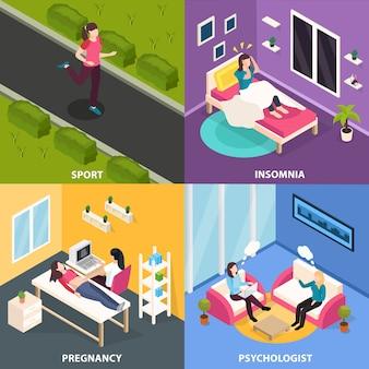 Concepto isométrico de salud femenina con personajes humanos femeninos en diferentes situaciones con médicos