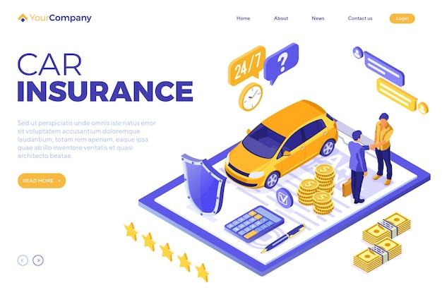 Concepto isométrico de seguro de automóvil para póster, sitio web, publicidad con seguro de automóvil