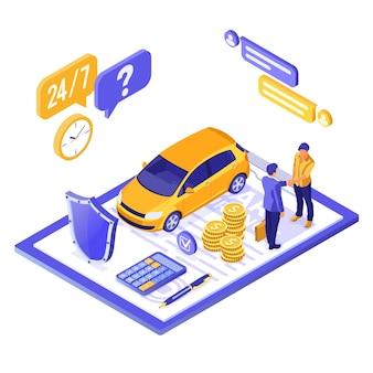 Concepto isométrico de seguro de coche