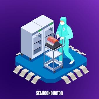 Concepto isométrico semiconductor con tecnología y símbolos uniformes de laboratorio.