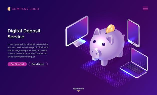 Concepto isométrico del servicio de depósito de dinero digital