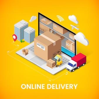 Concepto isométrico del servicio de entrega en línea con almacenamiento en computadora portátil, caja de paquetería, camión, edificios. diseño de banner 3d de anuncio logístico. ilustración para web, aplicación móvil, infografía.