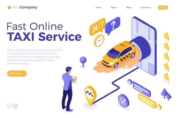 Concepto isométrico del servicio de taxi de internet en línea.