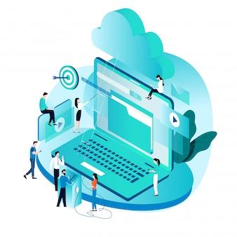 Concepto isométrico para servicios de computación en la nube