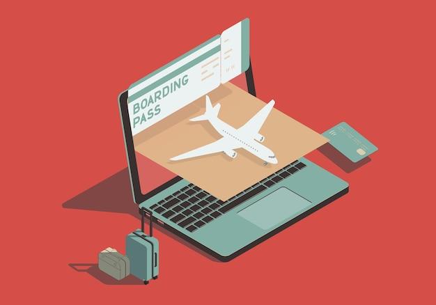 Concepto isométrico sobre el tema de los viajes aéreos y la compra de boletos en línea.