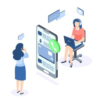 Concepto isométrico de soporte al cliente. banner de web de ayuda del centro de llamadas. asistencia de ayuda de servicio en línea. ilustración vectorial